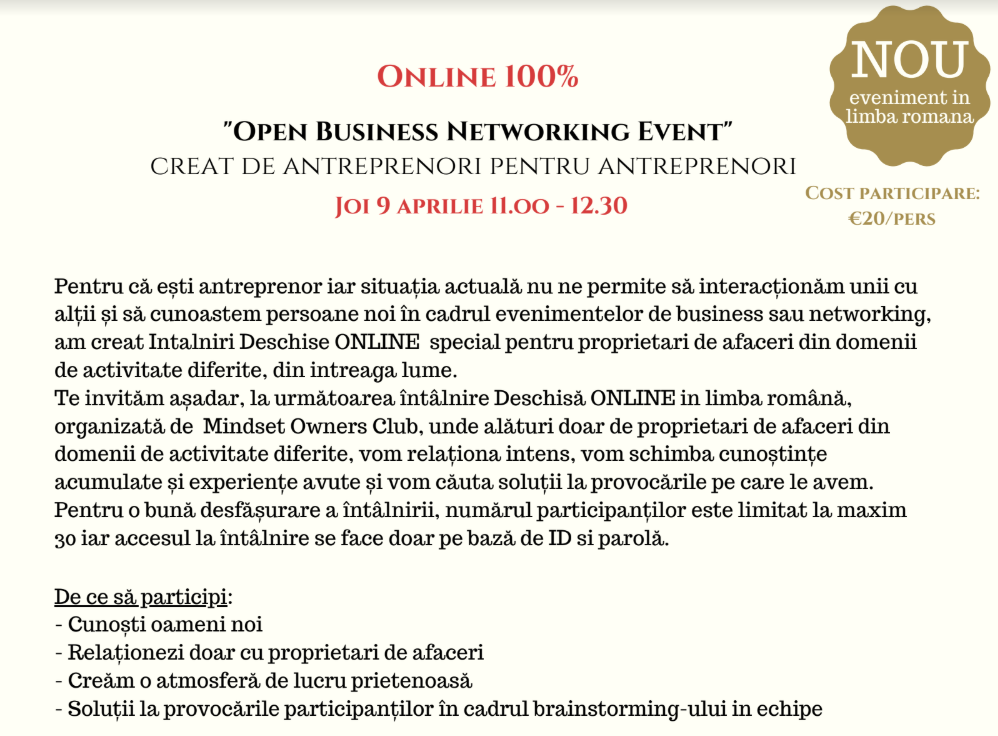 Invitation to a local business event which was moved online because of the Coronavirus quarantine and lockdown/saftey-measures.