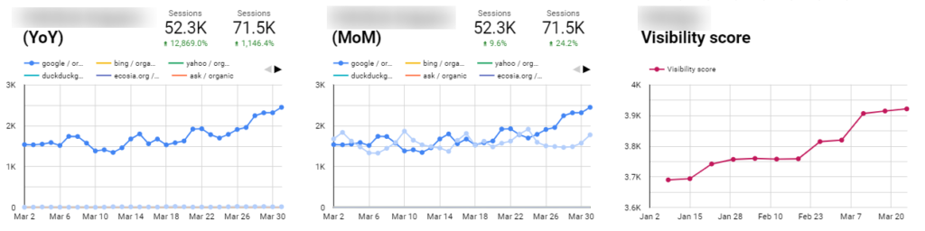 SEO metrics, traffic, rankings and visibility for a pet shop ecommerce online shop